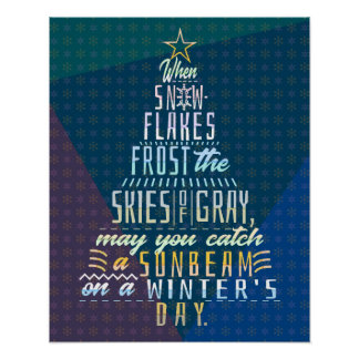 Winter Holidays Christmas Tree Snowflakes Poem Poster