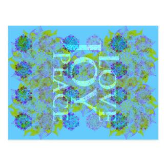 Winter Holidays | Love Joy Peace | Blue Yellow Postcard