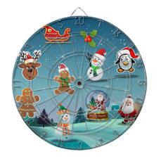 Winter Holidays Scene Cartoon Dart Board