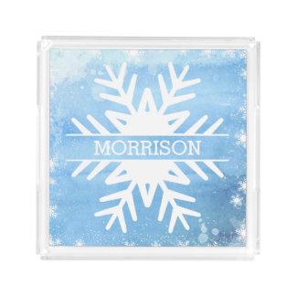 Winter Holidays Watercolor Snowflake Personalized Acrylic Tray