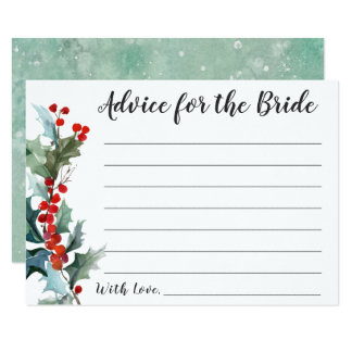 Winter Holly Advice for the Bride Card