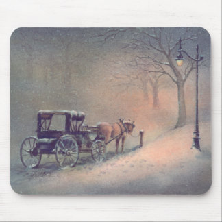 WINTER HORSE & BUGGY by SHARON SHARPE Mouse Pad