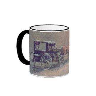 WINTER HORSE & BUGGY by SHARON SHARPE Mugs