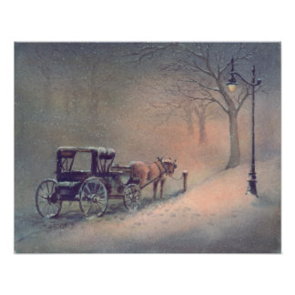 WINTER HORSE & BUGGY by SHARON SHARPE Poster