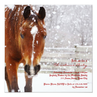"Winter Horse Christmas Party 5.25"" Square Invitation Card"