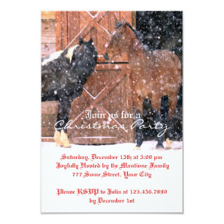 Winter Horse Christmas Party 3.5x5 Paper Invitation Card