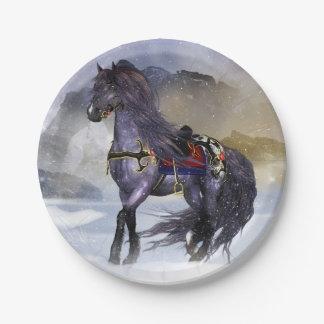 "Winter Horse, Equine Art Custom Paper Plates 7"""