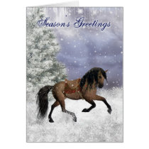 Winter Horse, Equine Fantasy Holiday Greetings Card