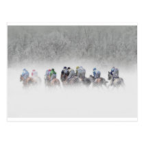 Winter Horse Race Postcard