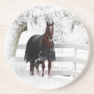 Winter Horse Sandstone Coaster