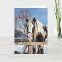 Winter horse standing at fence holiday card