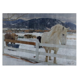Winter horses cutting board