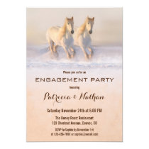 Winter Horses in Snow Engagement Party Invitation