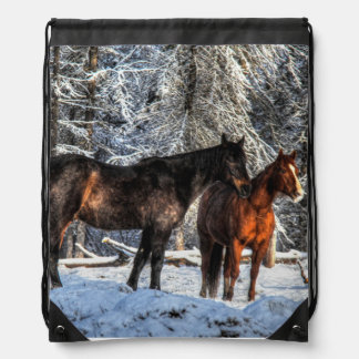 "Winter Horses ""Year of the Horse"" Equine photo Drawstring Bags"