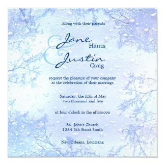 winter ice blue elegant frosty wedding invite