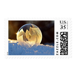 Winter Ice Bubble with Leaves Postage