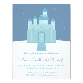 Winter Ice Frozen Palace Princess Birthday Party 4.25x5.5 Paper Invitation Card