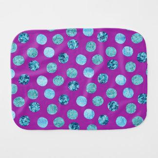 Winter Ice Polka Dots Purple Baby Burp Cloth