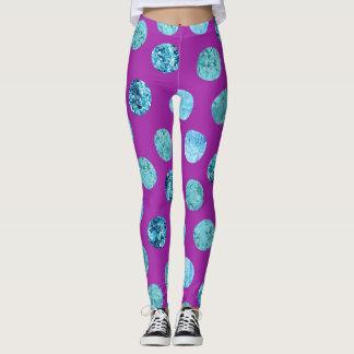 Winter Ice Polka Dots Purple Leggings