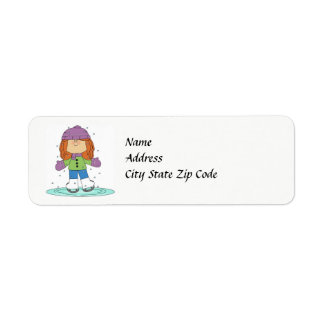 Winter Ice Skater Address Label