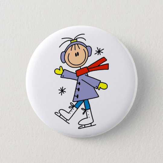 Winter Ice Skating Button