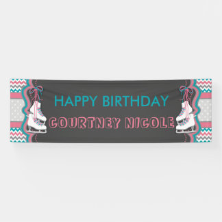 Winter Ice Skating Happy Birthday Party Banner