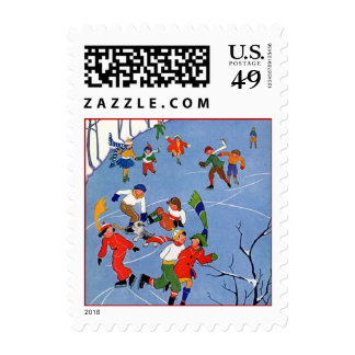Winter Ice Skating On A Pond Winter Party STAMPS