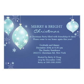 Winter Icy Blue Balls Christmas Party Flat Invites