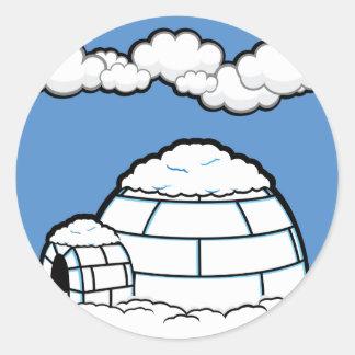 Winter IGLOO SNOW BLUE SKY WHITE CLOUDS CARTOON Classic Round Sticker