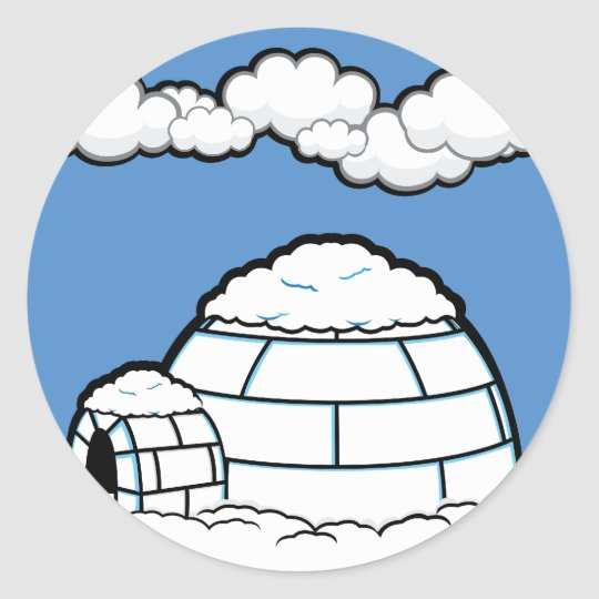 Winter IGLOO SNOW BLUE SKY WHITE CLOUDS CARTOON Classic Round Sticker