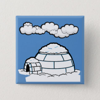 Winter IGLOO SNOW BLUE SKY WHITE CLOUDS CARTOON Pinback Button
