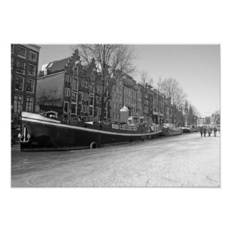 Winter in Amsterdam the Netherlands with the Weste Poster