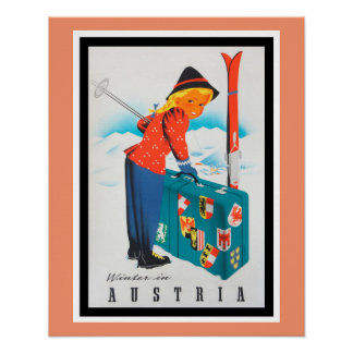 Winter in Austria Vintage Travel Poster