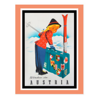 Winter in Austria Vintage Travel Poster Postcard