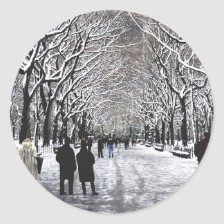 Winter in Central Park NYC Classic Round Sticker