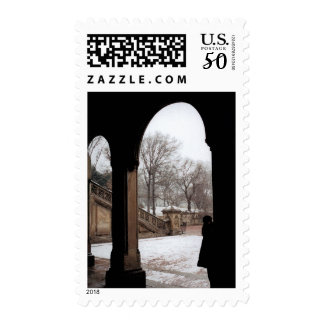 Winter in Central park NYC Postage