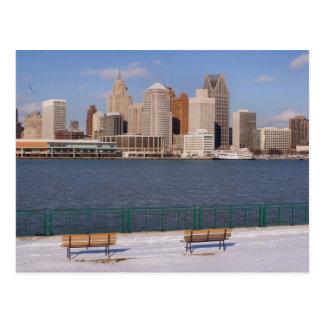 winter in detroit postcard