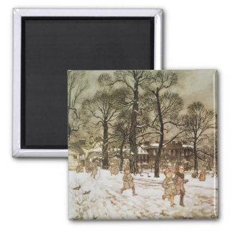 Winter in Kensington Gardens 2 Inch Square Magnet