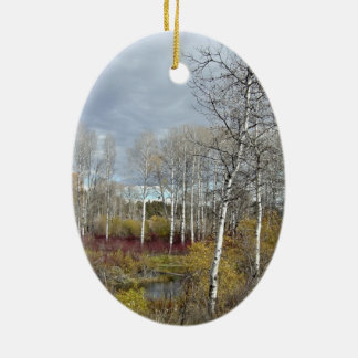Winter in Lake County Double-Sided Oval Ceramic Christmas Ornament