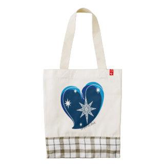 winter in love-Signature-Blue Zazzle HEART Tote Bag