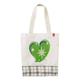 winter in love-Signature-Green Zazzle HEART Tote Bag