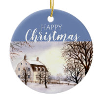Winter in New England Watercolor Painting Ceramic Ornament