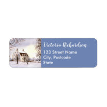 Winter in New England Watercolor Painting Label
