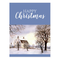 Winter in New England Watercolor Painting Postcard
