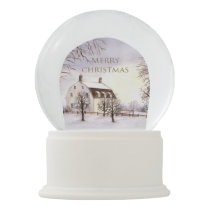 Winter in New England Watercolor Painting Snow Globe