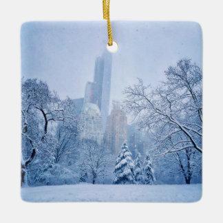 Winter In New York City's Central Park Ceramic Ornament