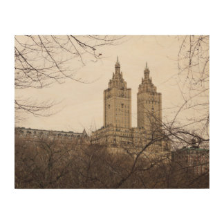 Winter in New York with the view of The San Remo Wood Print