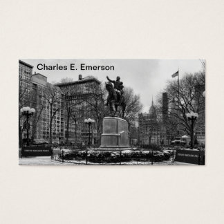 Winter in NYC's Union Square 001 Black White Business Card