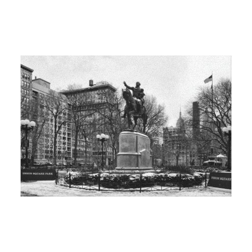 Winter in NYC's Union Square 001 Black White Stretched Canvas Prints