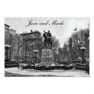 Winter in NYC's Union Square 001 Black White Card